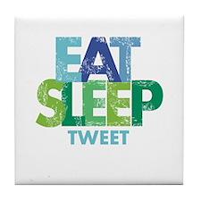 EAT SLEEP TWEET Tile Coaster