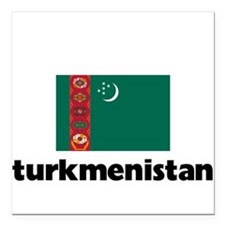 "I HEART TURKMENISTAN FLAG Square Car Magnet 3"" x 3"
