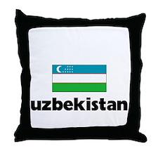 I HEART UZBEKISTAN FLAG Throw Pillow