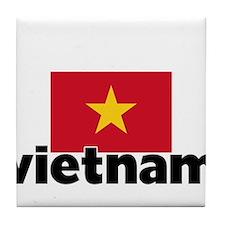 I HEART VIETNAM FLAG Tile Coaster