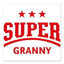 "Super Granny (Red) Square Car Magnet 3"" x 3"""