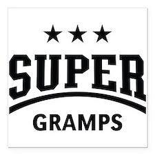 "Super Gramps (Black) Square Car Magnet 3"" x 3"""