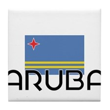 I HEART ARUBA FLAG Tile Coaster