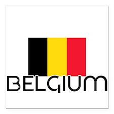 "I HEART BELGIUM FLAG Square Car Magnet 3"" x 3"""