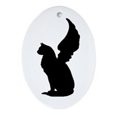 Angel Cat Ornament (Oval)