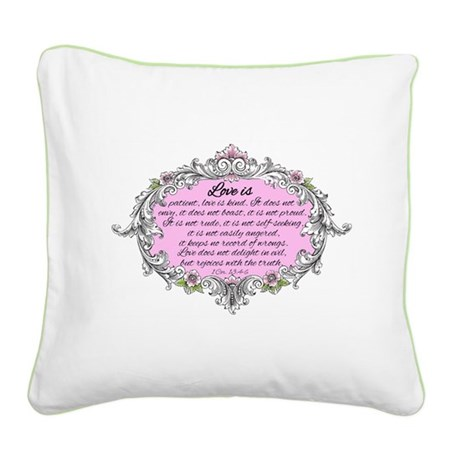 1 Corinthians 13:4-6 Vintage Square Canvas Pillow