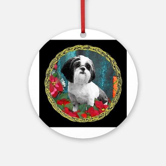 Shih Tzu Valentine China Ornament (Round)