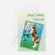 From us all, Birthday card with a cat Greeting Car