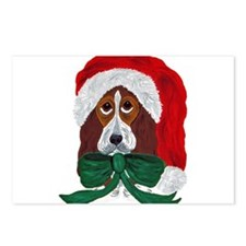 Basset Puppy Santa Postcards (Package of 8)