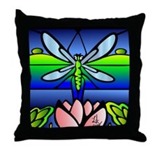 Dragonfly Tiffany Style Throw Pillow