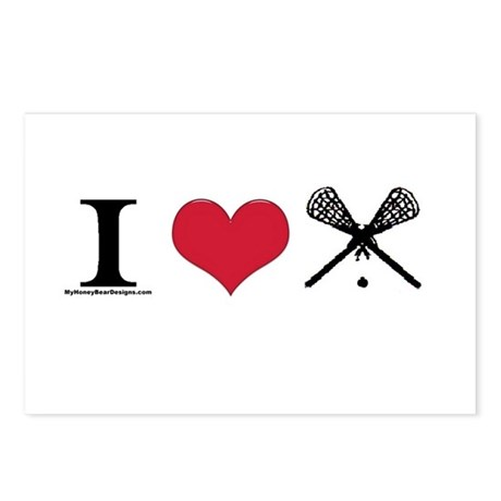 I Heart Lacrosse Postcards (Package of 8)