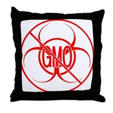 NO GMO Biohazard Warning Toxic Food Sign Throw Pil