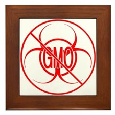 NO GMO Biohazard Warning Toxic Food Sign Framed Ti