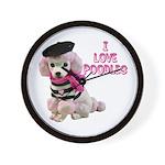 I Love Poodles Wall Clock