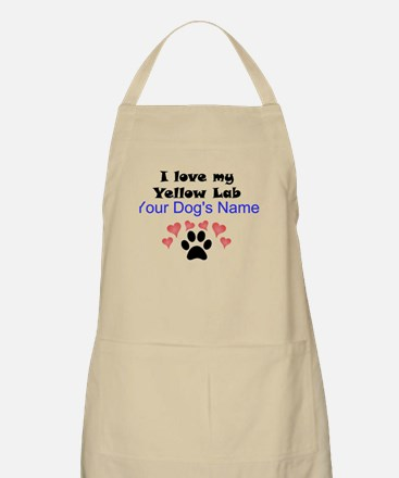 Custom I Love My Yellow Lab Apron
