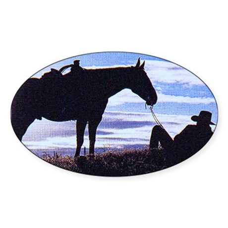 Cowboy Sunset Rectangle Sticker