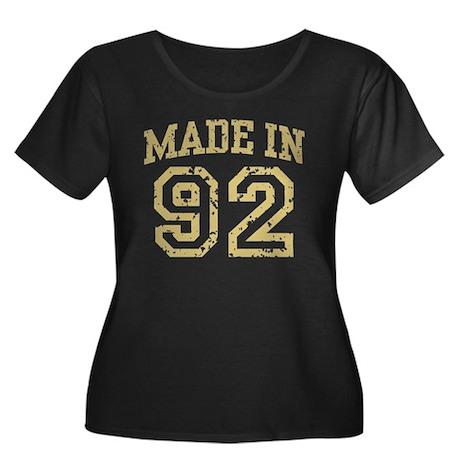 Made In 92 Women's Plus Size Scoop Neck Dark T-Shi