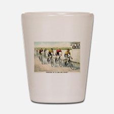 Wheelmen in a red hot finish - 1894 Shot Glass