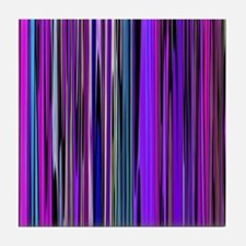 Purple Stripes Tile Coaster