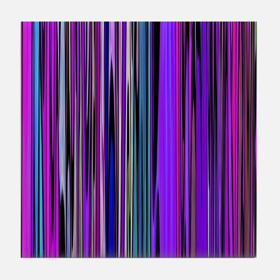 Purple Stripes Tile Coaster