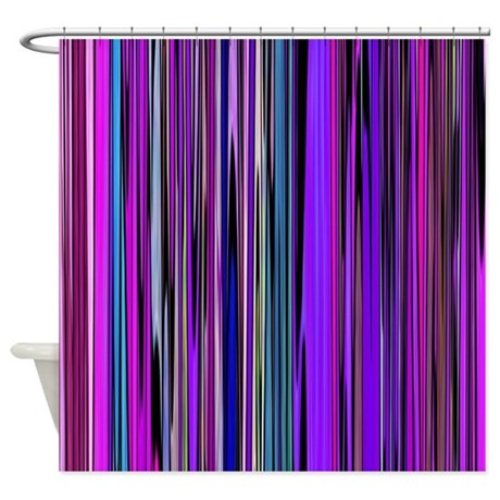 Purple Stripes Shower Curtain By Zodiarts