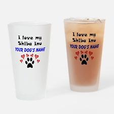 Custom I Love My Shiba Inu Drinking Glass