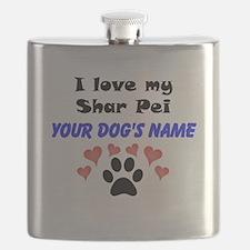 Custom I Love My Shar Pei Flask