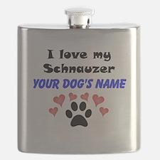Custom I Love My Schnauzer Flask