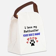 Custom I Love My Rottweiler Canvas Lunch Bag