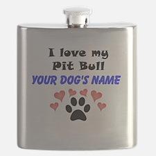 Custom I Love My Pit Bull Flask
