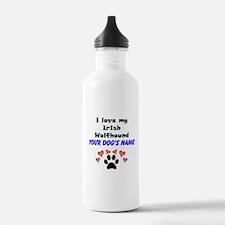 Custom I Love My Irish Wolfhound Water Bottle