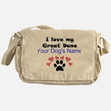 Custom I Love My Great Dane Messenger Bag