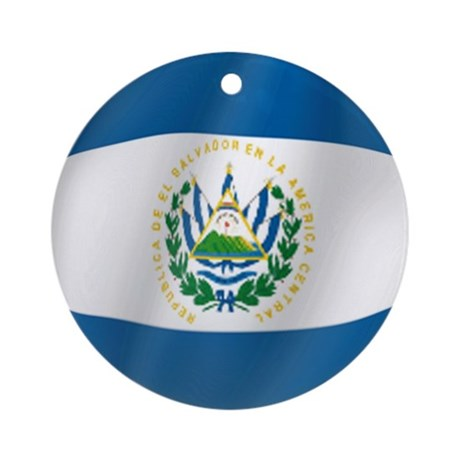Pure Flag of El Salvador Ornament (Round)