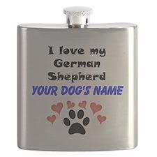 Custom I Love My German Shepherd Flask