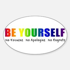 Be Yourself (Rainbow) Sticker (Oval)