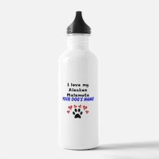 Custom I Love My Alaskan Malamute Water Bottle