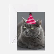 Russian Blue Birthday Card Greeting Card