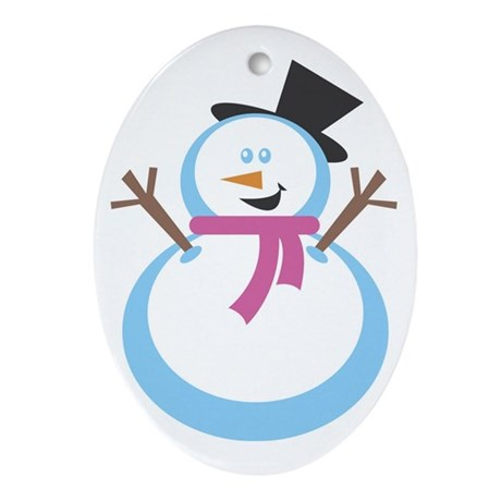 MERRY XMAS SNOWMAN Oval Ornament