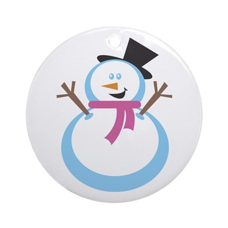 MERRY XMAS SNOWMAN Ornament (Round)