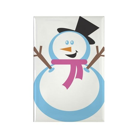 MERRY XMAS SNOWMAN Rectangle Magnet (10 pack)