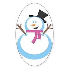 MERRY XMAS SNOWMAN Oval Decal
