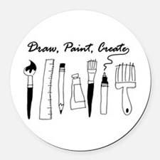 Draw Paint Create Round Car Magnet