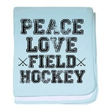 Peace, Love, Field Hockey baby blanket