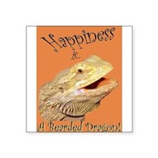 """Happiness is a Bearded Dragon. Square Sticker 3"""" x"""