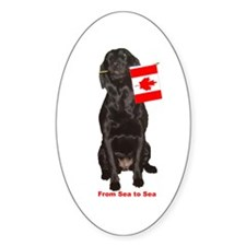 lab with canadian flag Oval Decal