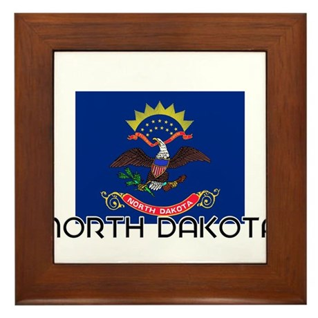 I HEART NORTH DAKOTA FLAG Framed Tile