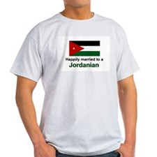 Happily Married To A Jordanian Ash Grey T-Shirt