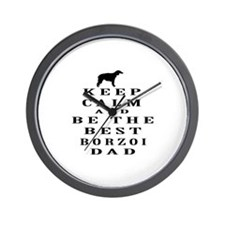 Keep Calm Borzoi Designs Wall Clock