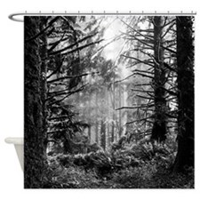 Forest Black Shower Curtain