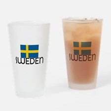 I HEART SWEDEN FLAG Drinking Glass